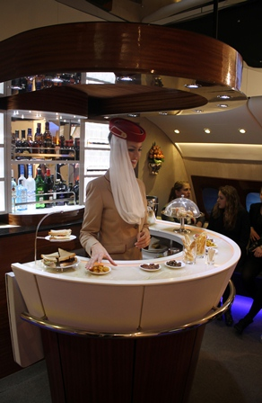 Baren i Emirates business class på Airbus A380