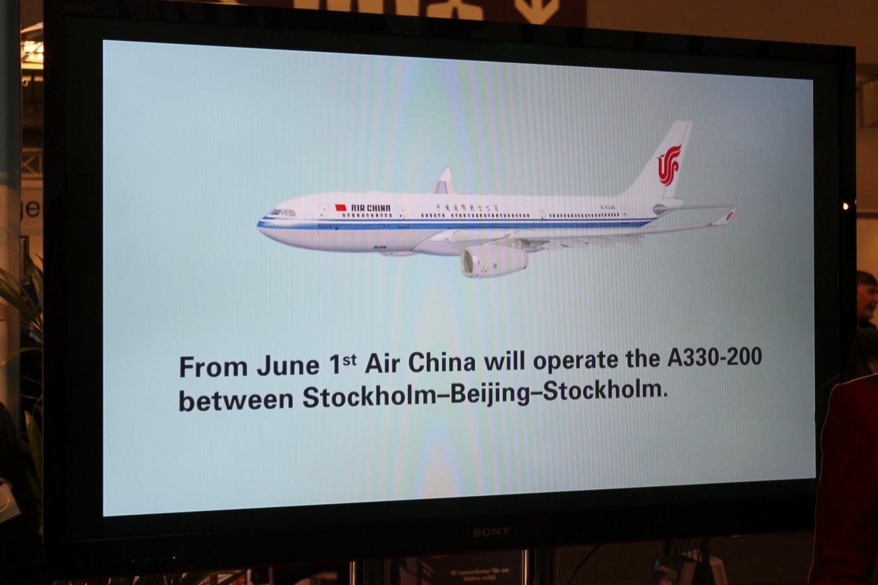 Air China med ny business class Stockholm-Peking