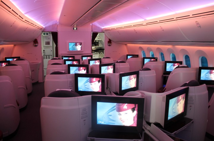Qatar Airways Business Class kabin på Boeing 787 Dreamliner