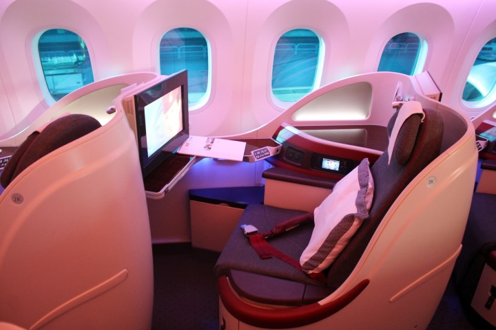 Qatar Airways Business Class stol på Boeing 787 Dreamliner