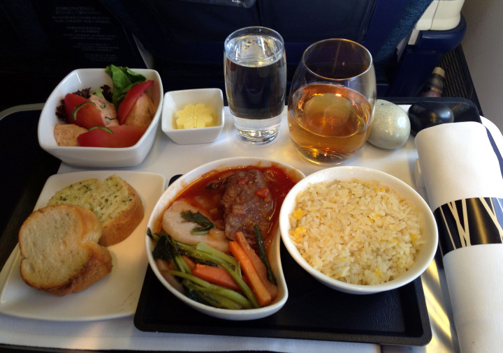 Cathay Pacific Airbus A330 lunch