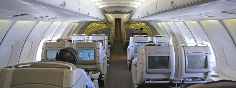 Asiana BusinessClass on Boeing 747-400 upper deck