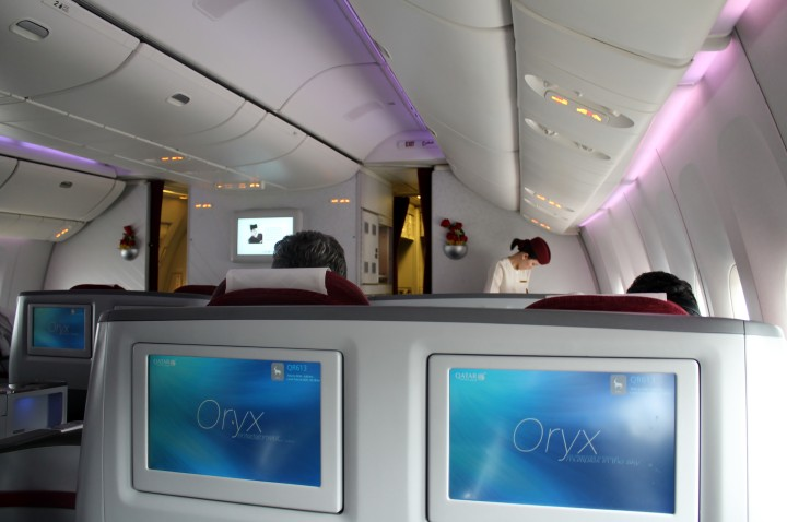 Qatar Airways Business Class cabin Boeing 777
