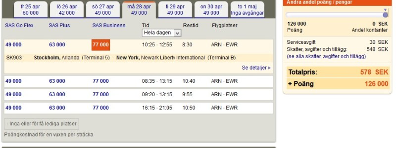 SAS Best Availability Stockholm-New York