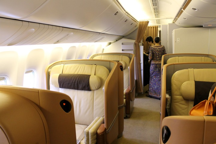Singapore Airlines First Class cabin Boeing 777