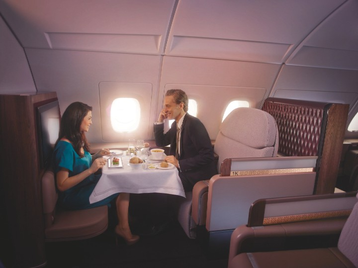 Qatar Airways Airbus A380 First Class dinner
