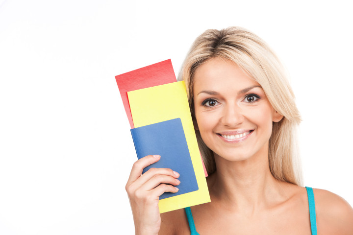 Woman with boarding card