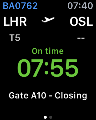 Apple Watch flight Heathrow T5