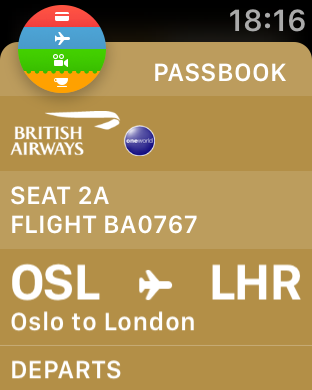 Apple Watch BA boarding pass OSL LHR