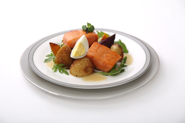 Baked Herb Marinated Salmon with Potato, Boiled Eggs, Beets and Arugula Salad in Dijon Mustard Vinaigrette - by ICP Chef Suzanne Goin