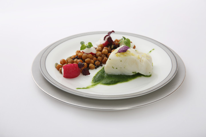 Citrus Steamed Sea Bass with Lettuce Puree, Legumes, Radishes and Sunflower Seeds in Citrus Vinaigrette - By ICP Chef Carlo Cracco