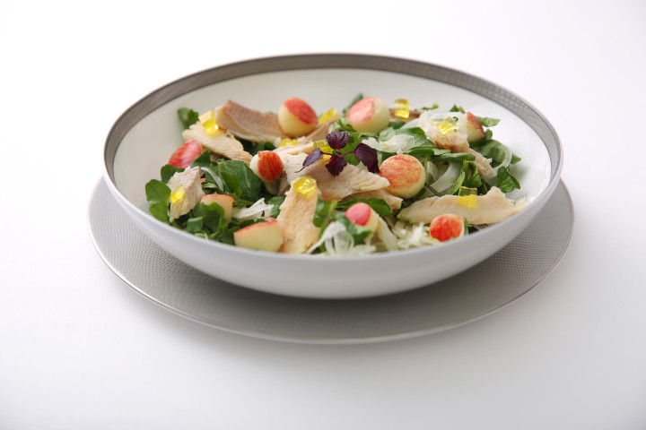 Duo of Watercress Salad and Smoked Trout with Shaved Fennel, Apples and Yuzu Jelly in a Maple Vinaigrette - By ICP Chef Matt Moran
