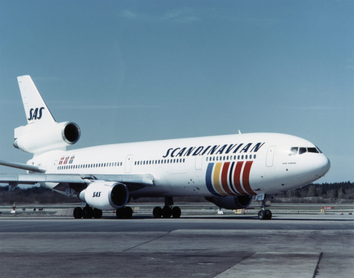 SAS DC-10-30, Dag Viking SE-DFD, on the ground, at the airport. 1980s