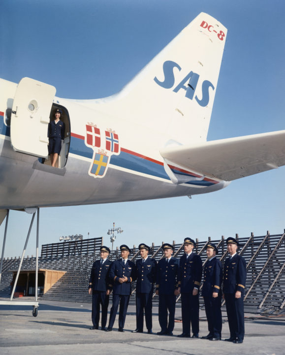 SAS DC-8-33. Folke Viking 1965. Crew at Long Beach airport before delivery