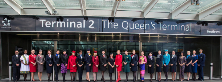 Star Alliance flight attendants at London Heathrow terminal 2