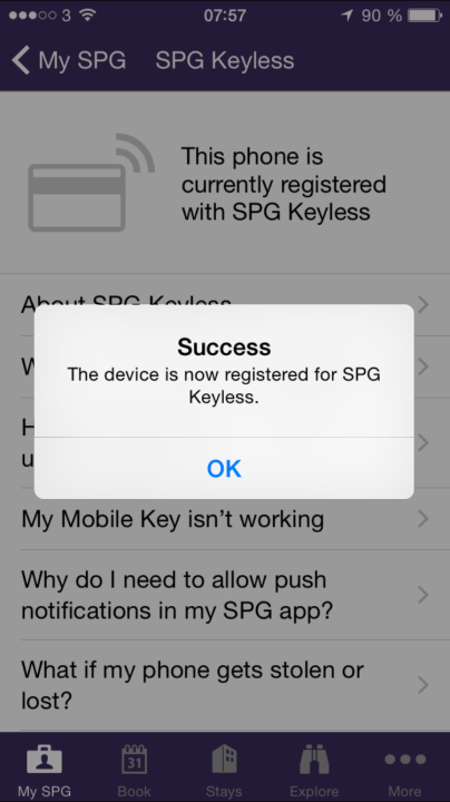 New SPG app with Keyless entry enabled