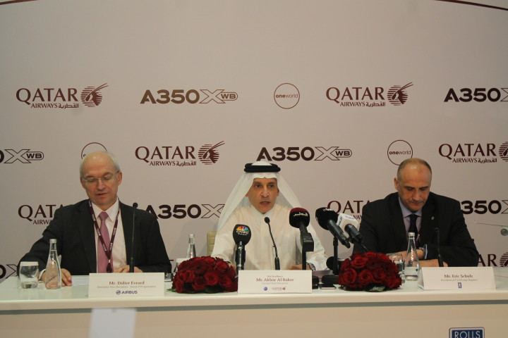 Akbar Al-Baker during Qatar Airways press conference in Doha