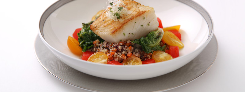 Chilean Seabass on a Bed of Kale and Quinoa Salad with Tomato Jelly and Almond Flakes - By ICP Chef Alfred Portale