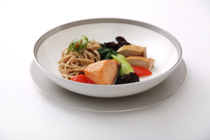 Namyu Cod Fish and Jinlen Soy Chicken with Brown Lamien Noodles and Wood Eat Mushroom - By ICP Chef Zhu Jun