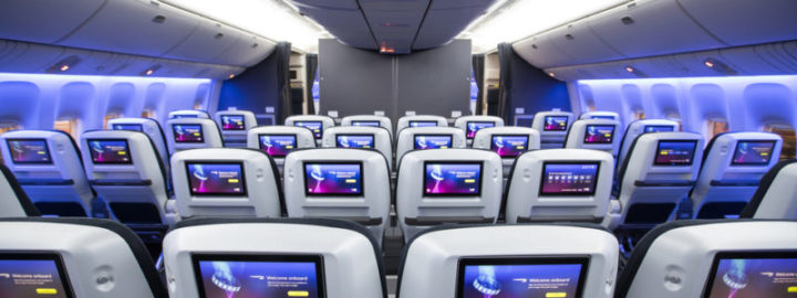 LONDON, UK:  World Traveller Plus cabin on a British Airways Boeing 777 at London Gatwick on 04 March 2018 (Picture by Nick Morrish/British Airways)